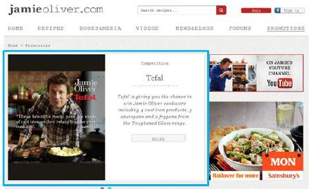 Cross media advertising opportunities with Jamieoliver.com